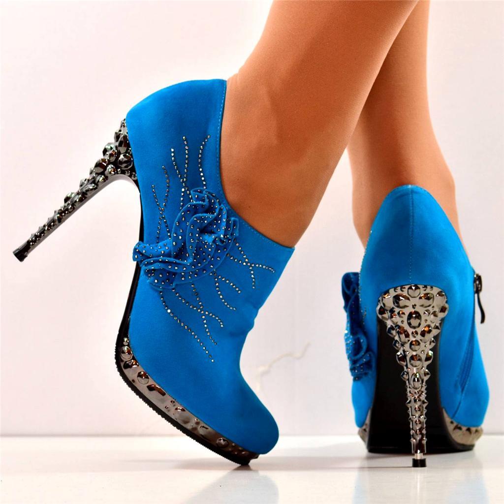 new turquoise diamante platform high heel