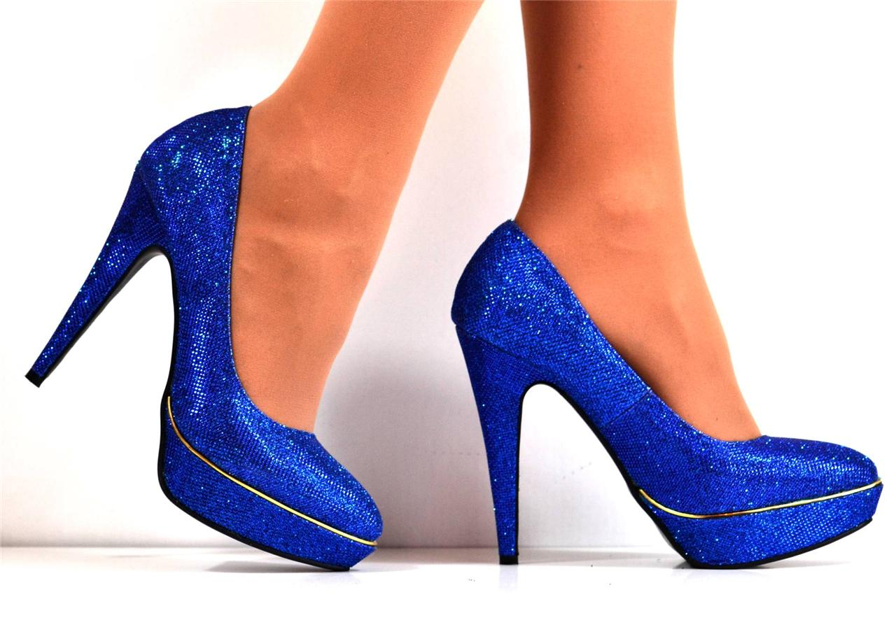new size uk 4 electric blue gold glitter shimmer high heel