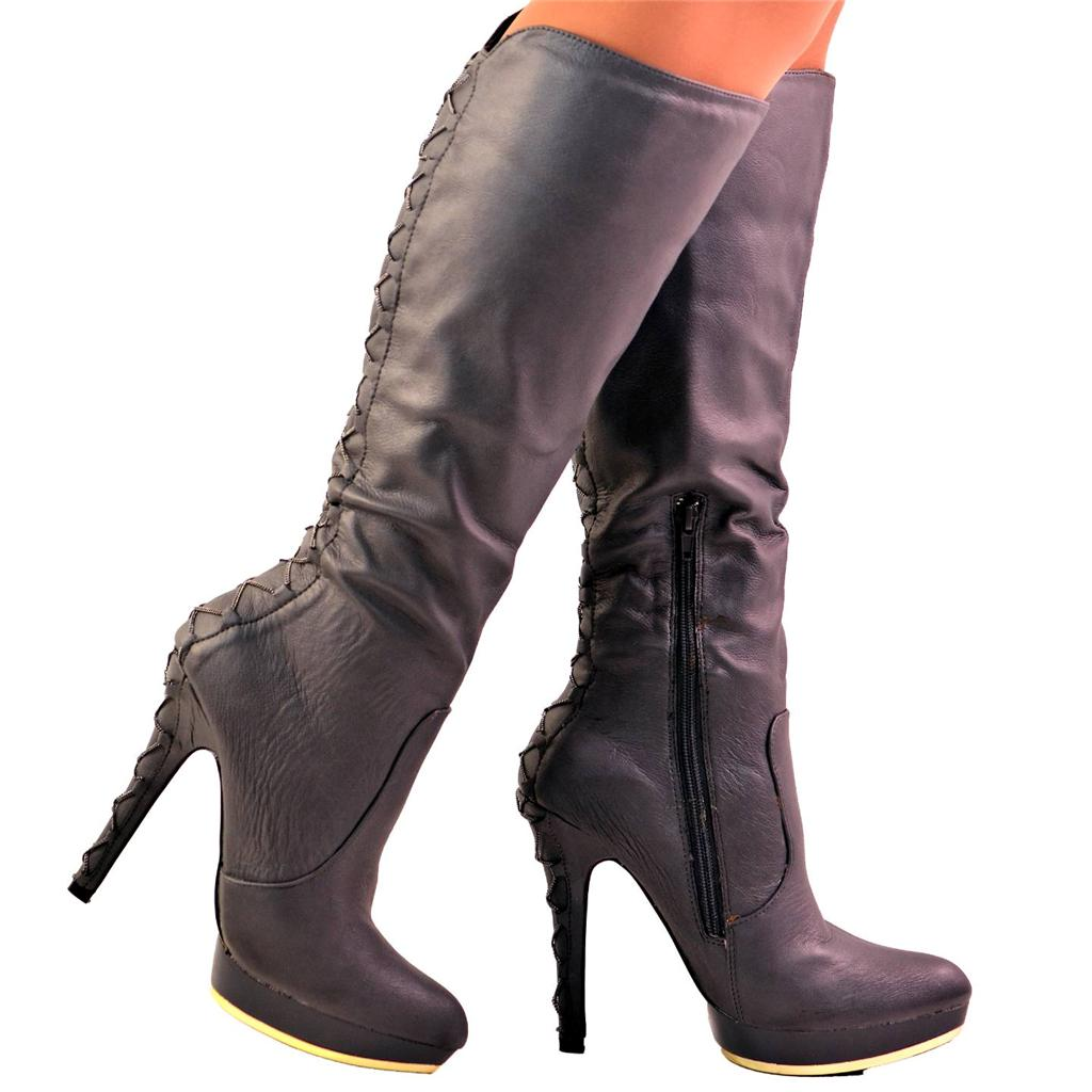 new size uk 6 grey corset lace up back high heel platform