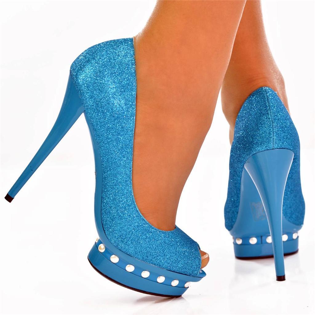 Light blue sparkly high heels