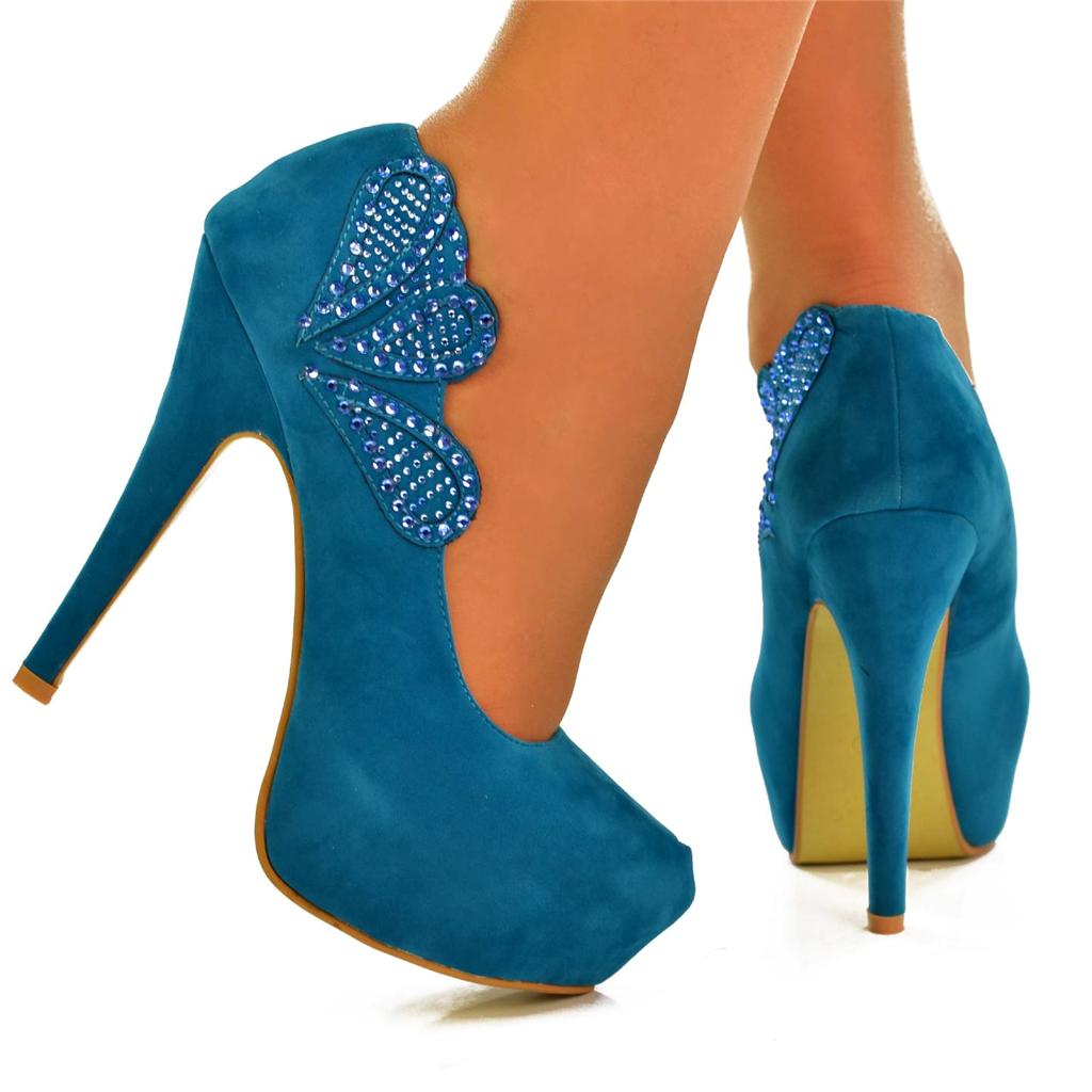 new size uk 4 turquoise blue plain suede high heel