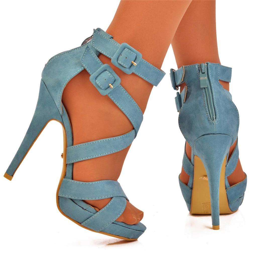 uk 5 light blue strappy buckle high heel sandals platform shoes ebay. Black Bedroom Furniture Sets. Home Design Ideas
