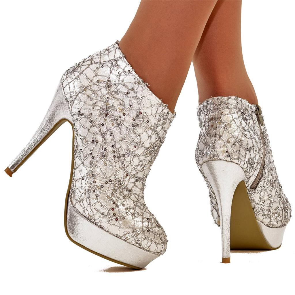 Silver Sequin Sparkly Platform High Heel Ankle Boots Shoe Heels   eBay