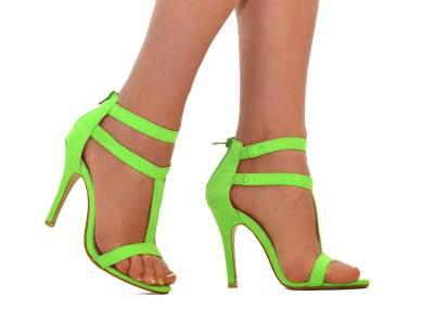 Womens Neon Green Ankle Cuff Strappy Stiletto High Heel #2: tp