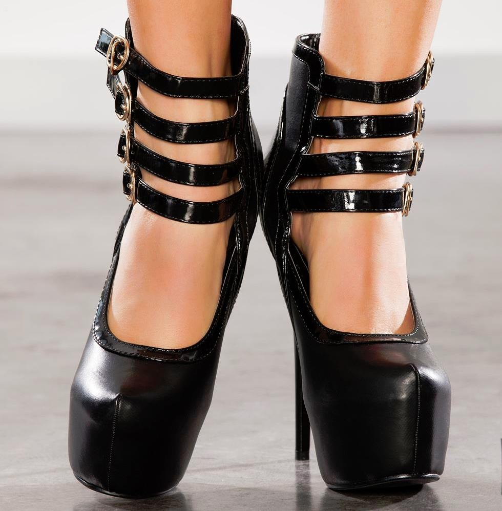 womens size uk 7 black buckle straps high