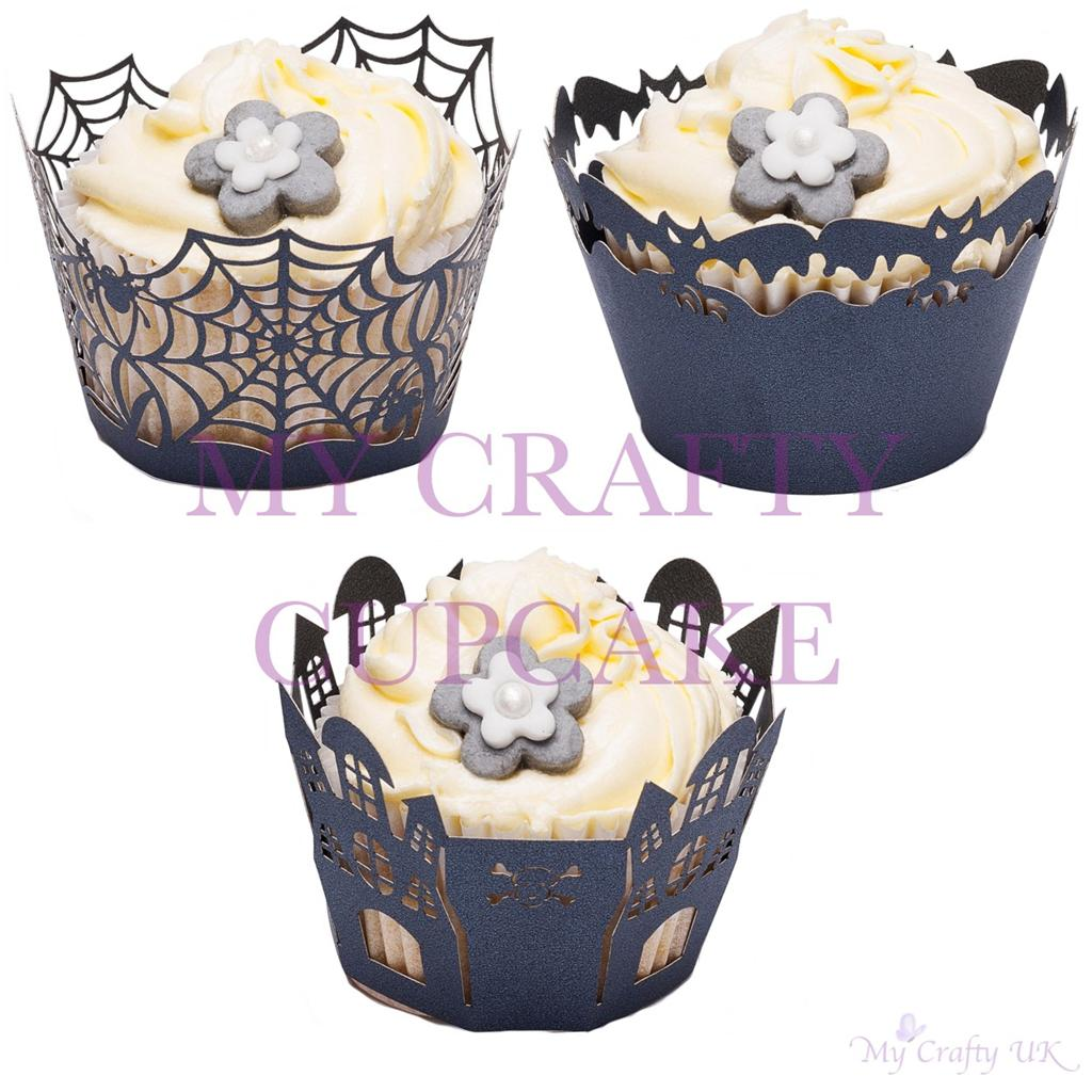 Halloween Cupcake Decorating Ideas Uk : Halloween Cupcake Wrappers Decorations Bat Cobweb Spider ...