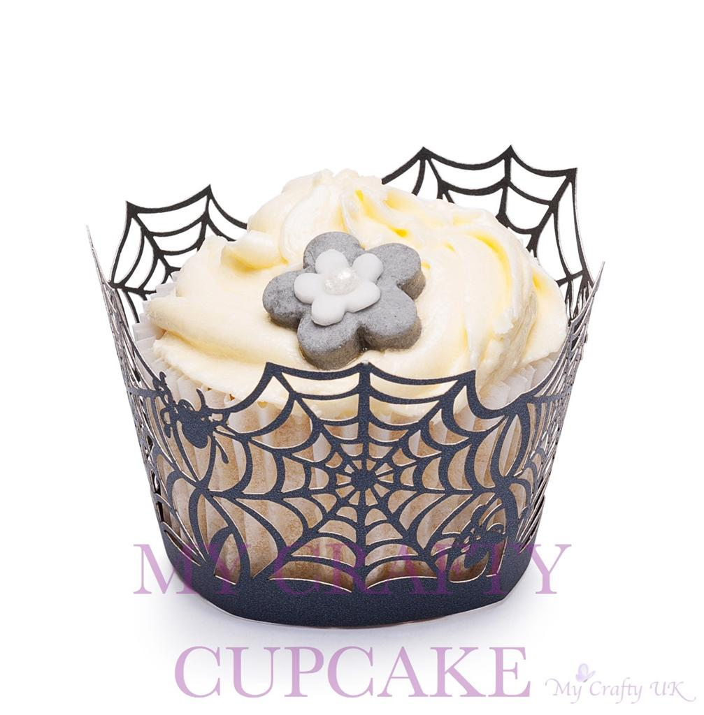 Halloween-Cupcake-Wrappers-Decorations-Bat-Cobweb-Spider-Haunted-House-Black