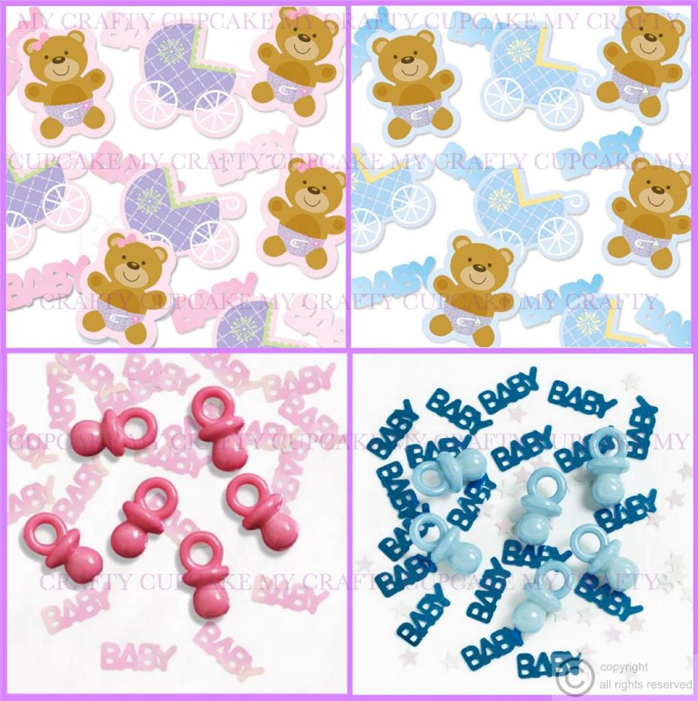 New baby or christening table confetti decoration boy or for Baby christening decoration