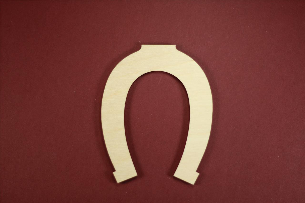 Lucky horseshoe shape unfinished wood laser cut shapes for Wooden horseshoes for crafts