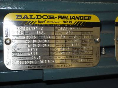 Baldor reliance 150 hp 841xl super e severe duty motor for Baldor reliance super e motor