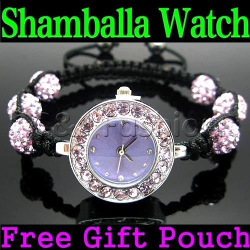 Ladies-Shamballa-Bracelet-Watch-6-Clay-Crystal-Disco-Balls-Women-Shambala-Watch