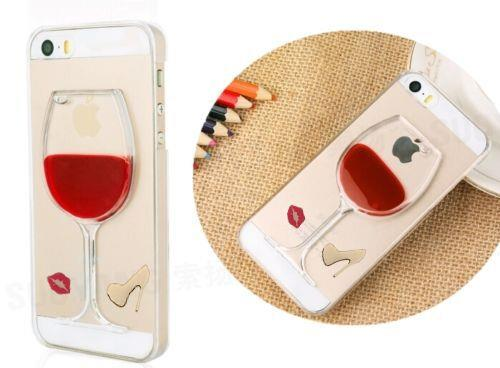 Red Wine Glass GEL Cocktail Moving Liquid 3D Case Cover For iPhone 4 5 5S 6 Plus