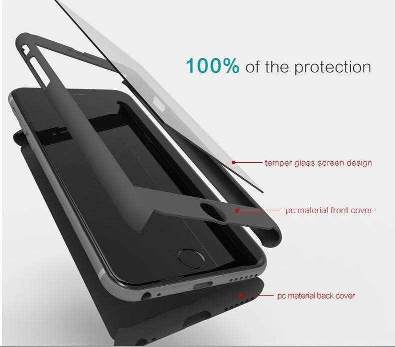 Hybrid 360 Tempered Glass Acrylic Hard Case Cover Skin
