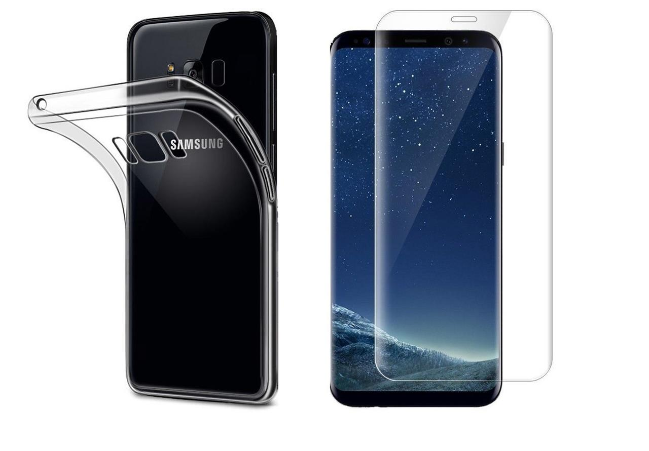 tempered glass screen protector clear gel case for samsung galaxy s8 s7 edge j3 ebay. Black Bedroom Furniture Sets. Home Design Ideas