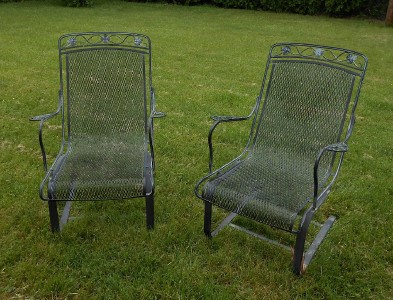 FAB! Pair Vintage WOODARD High Quality WROUGHT IRON Patio Porch Rocker ...