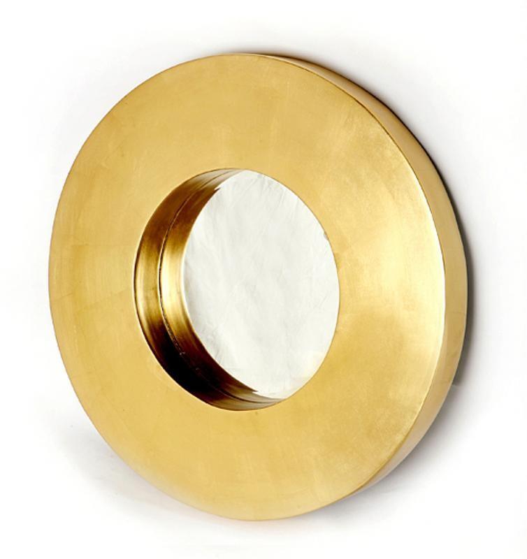 Round Gold Framed Wall Mirror Contemporary Minimalist
