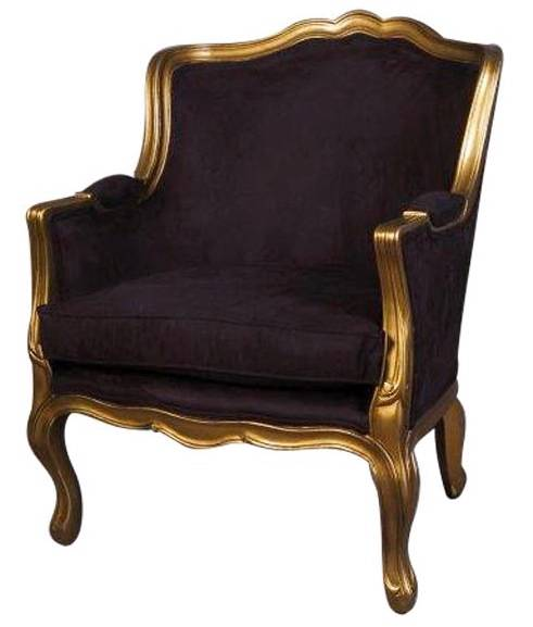 NEW French Provincial Louis Style Armchair IN Black Velvet Gold Timber Frame