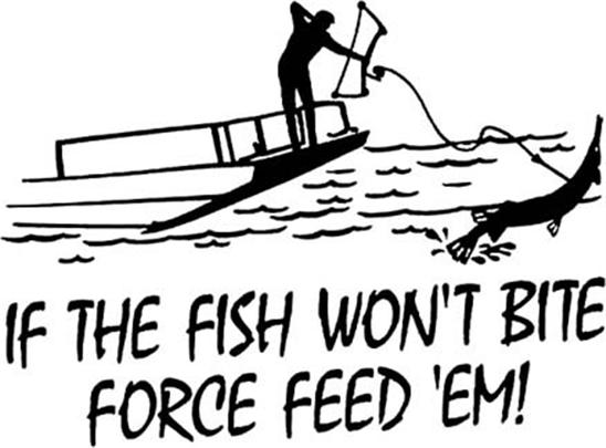 Bowfishing If The Fish Wont Bite Force Feed Em Vinyl Decal
