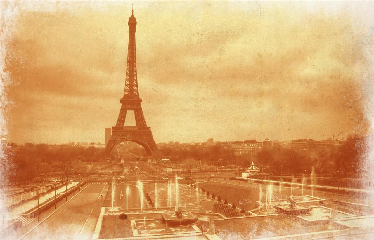 Vintage Eiffel Tower Glossy Poster Picture Photo Old