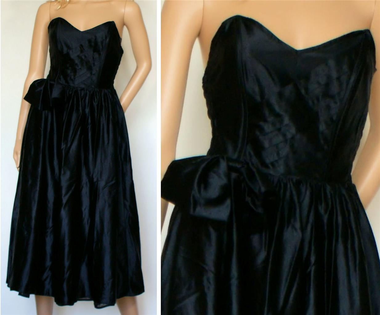 Vintage-Retro-Vtg-Prom-Party-Cocktail-Dress-Strapless-Black-Satin-Calf-UK-6-8