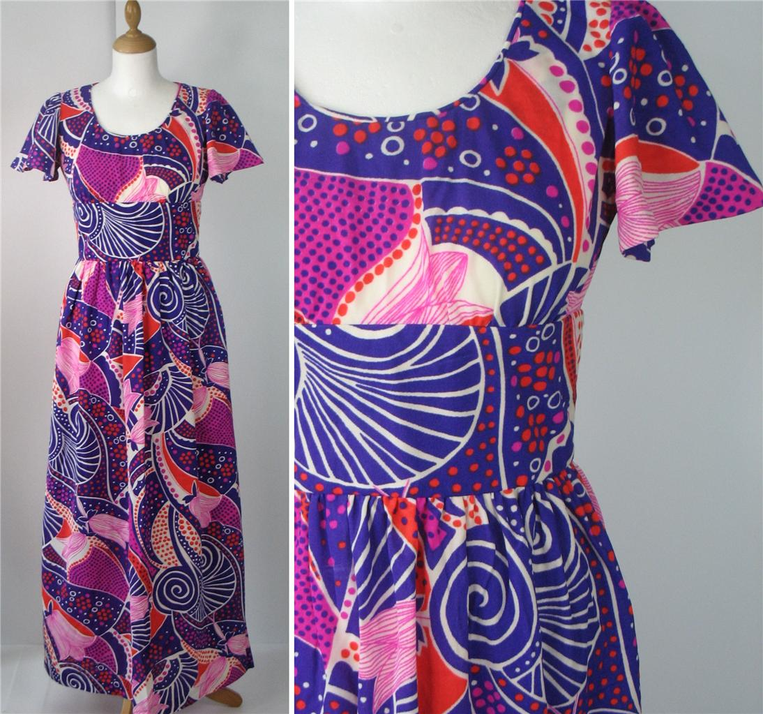 Vintage-Retro-70s-Summer-Festival-Maxi-Abstract-Long-Dress-Purple-Pink-UK-10