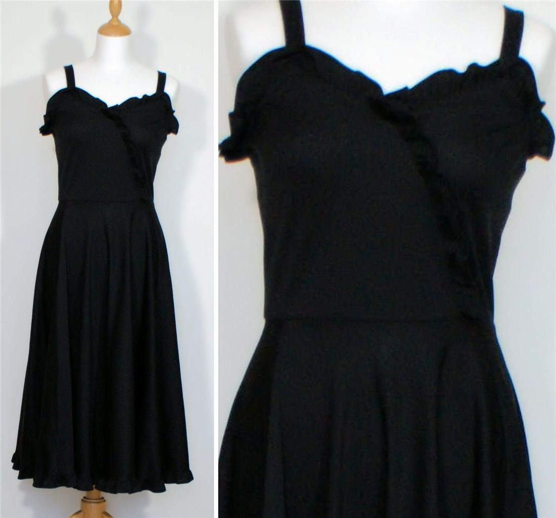 Vintage-Retro-Coktail-Party-Evening-Dress-Black-Calf-Length-Midi-UK-10