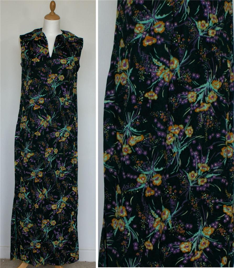 Vintage-Retro-Summer-Day-Tea-Maxi-Long-Dress-Floral-Sleeveless-UK-14