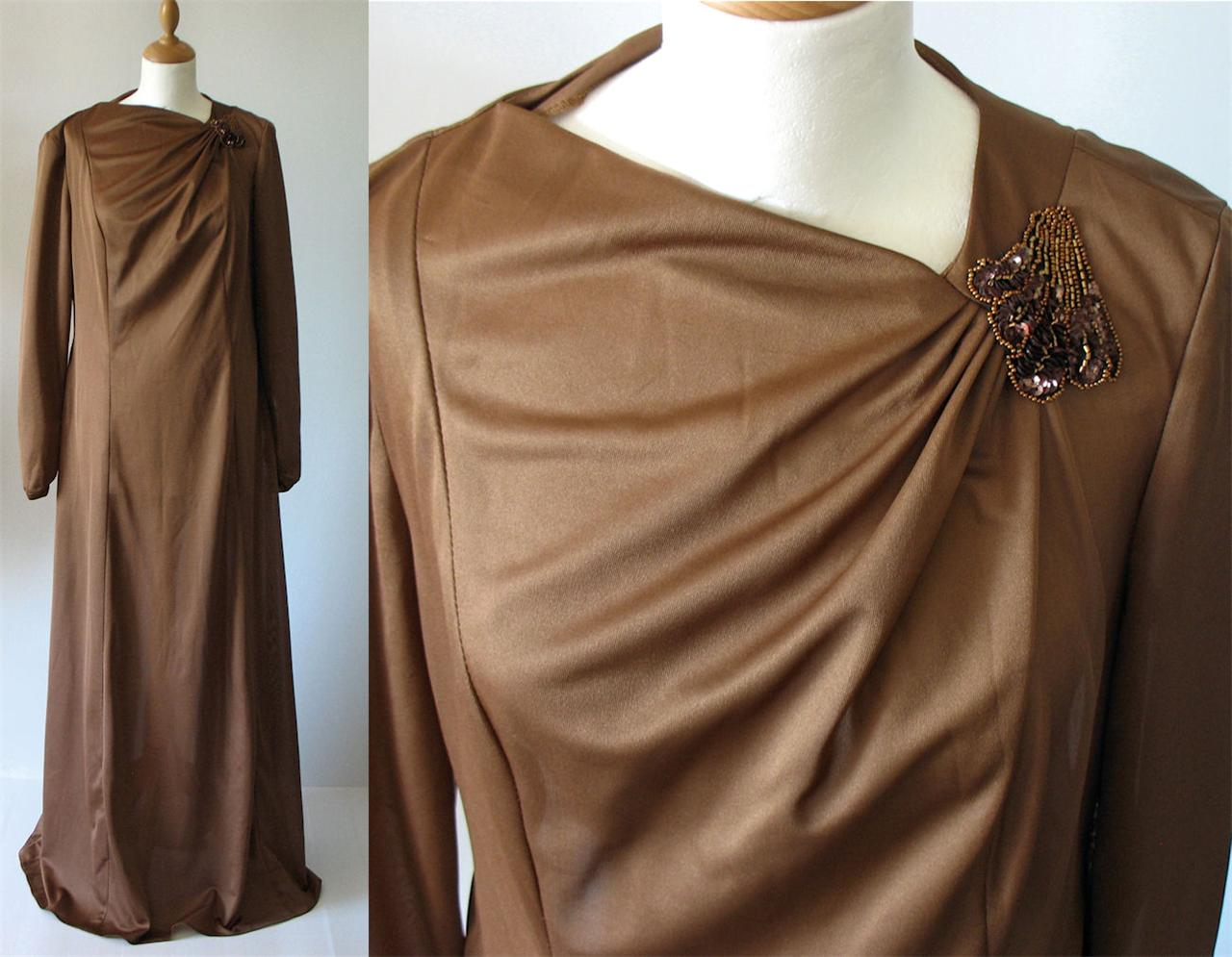 Vintage-Retro-Evening-Ceremony-Wedding-Dress-Long-Maxi-Brown-UK-14