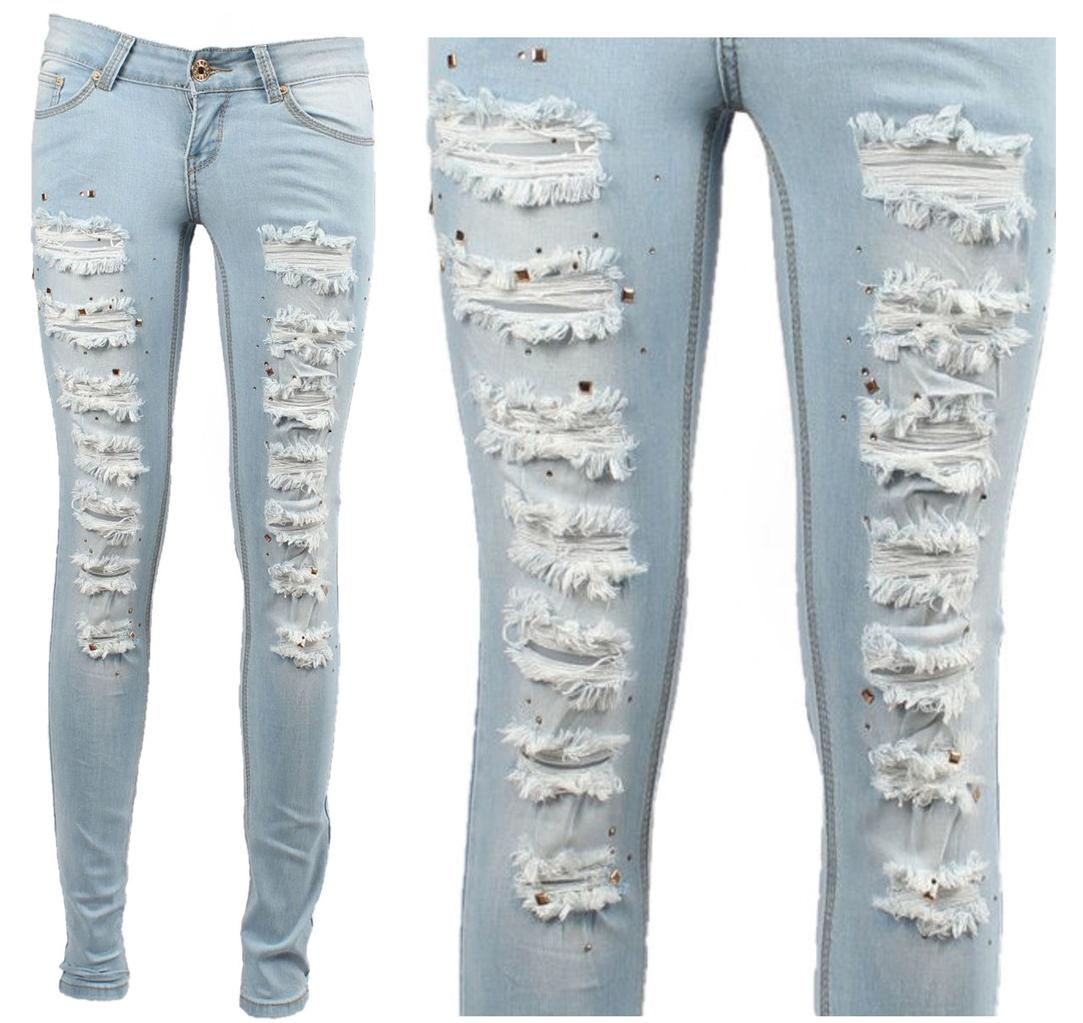 womens sexy jeans ripped destroyed studs rhinestones blue skinny slim new uk8 14 ebay. Black Bedroom Furniture Sets. Home Design Ideas