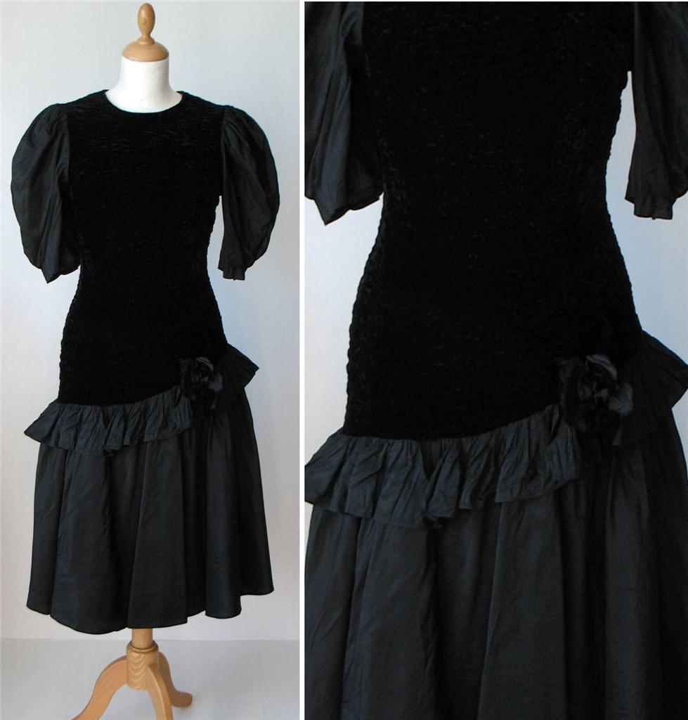 Vintage-Retro-Party-Cocktail-Velvet-Taffeta-Dress-Layered-Black-Midi-UK-10