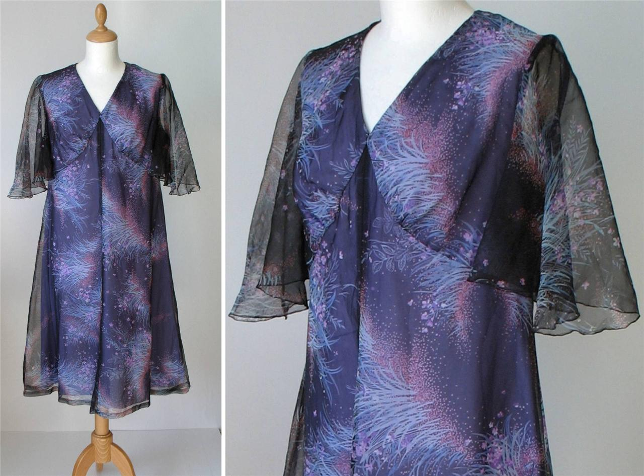 Vintage-Plus-Size-Cocktail-Evening-Chiffon-Floral-Midi-Dress-Purple-UK-14-16