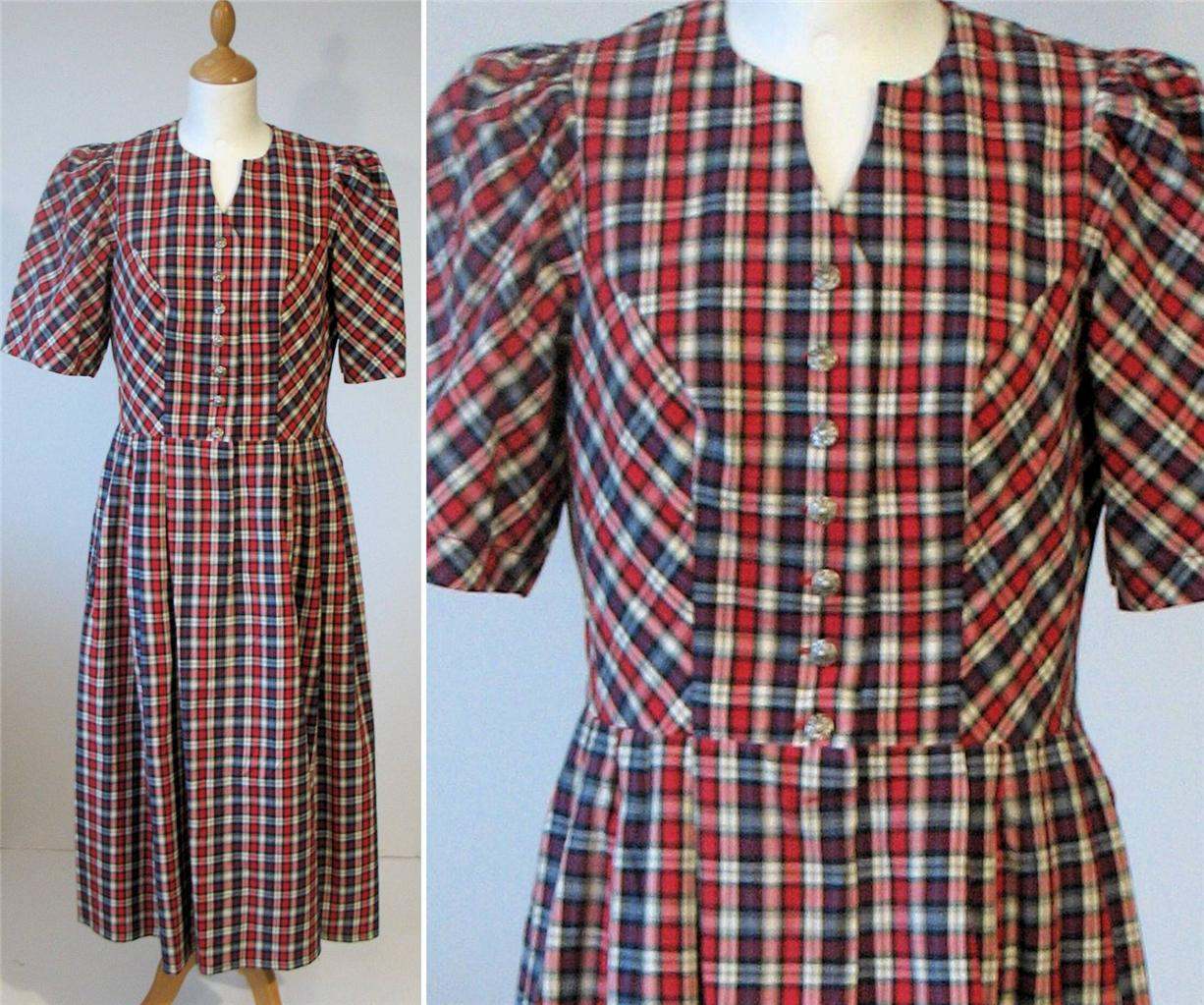 Vintage-Retro-German-Bavarian-Folk-Ethnic-Dress-Dirndl-Check-Red-Long-UK-12