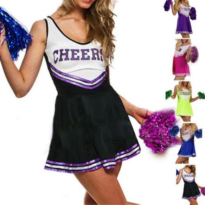kost m m dchen cheerleader high school outfit mit pompons ebay. Black Bedroom Furniture Sets. Home Design Ideas