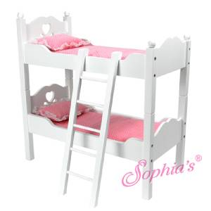Hand Painted White Bunk Bed Set For 18 American Girl Dolls