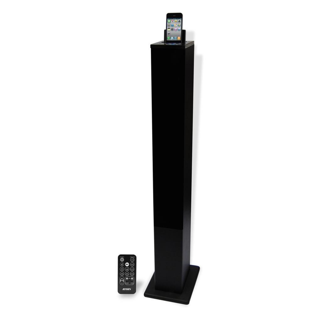 jensen tower speaker w ipod iphone charging dock jack. Black Bedroom Furniture Sets. Home Design Ideas