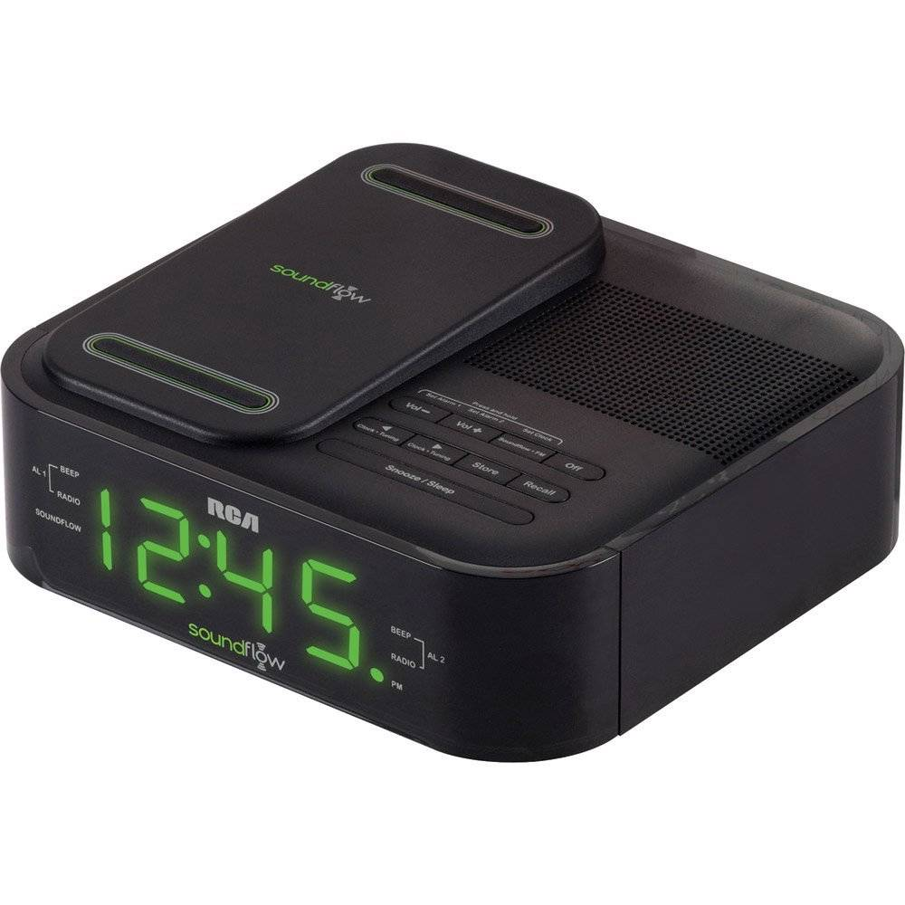 rca soundflow wireless android iphone dock alarm clock fm radio w usb charging ebay. Black Bedroom Furniture Sets. Home Design Ideas
