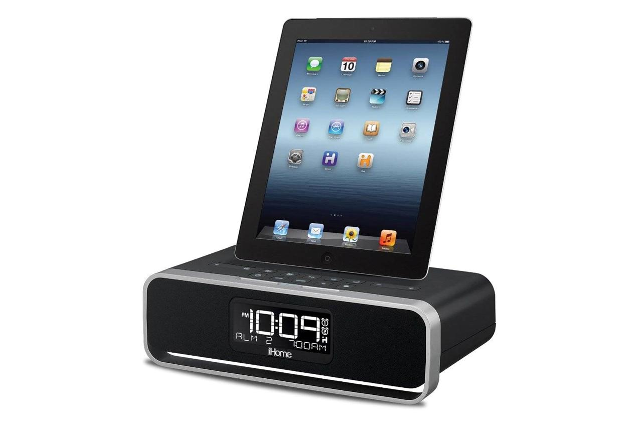 ihome dual charging stereo fm alarm clock dock for ipad air 4 mini iphone 5s 5c ebay. Black Bedroom Furniture Sets. Home Design Ideas