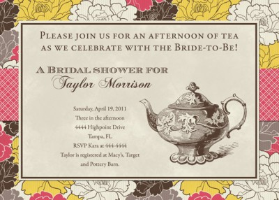 ... about Bridal Shower Tea Brunch Invitations - Many Designs - Fast