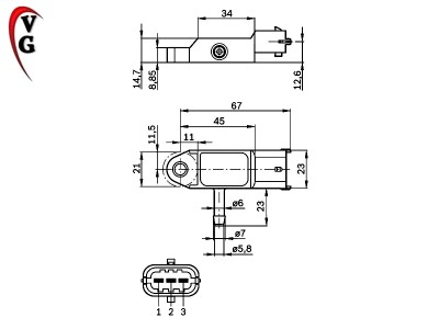Bosch 0281002593 0 281 002 593 Intake Manifold MAP Pressure Sensor ...