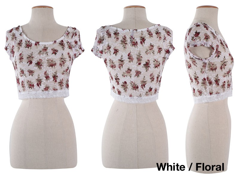 Crochet Flower Shirt Pattern : Cute Round Neck Floral Print Lace Crochet Sheer Cropped ...