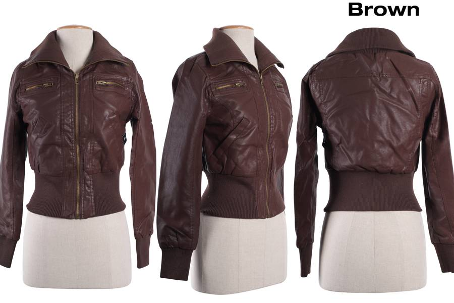 Women Slim Motorcycle Biker PU Faux Leather Bomber Jacket Coat