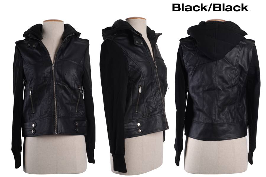 Women Motorcycle Biker PU Faux Leather Fleece Sleeve &ampamp Hood