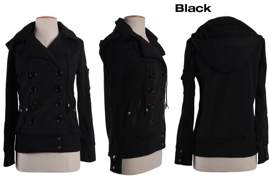 Womens Hooded Fleece Double Breasted Pea Coat Trench Coat Jacket