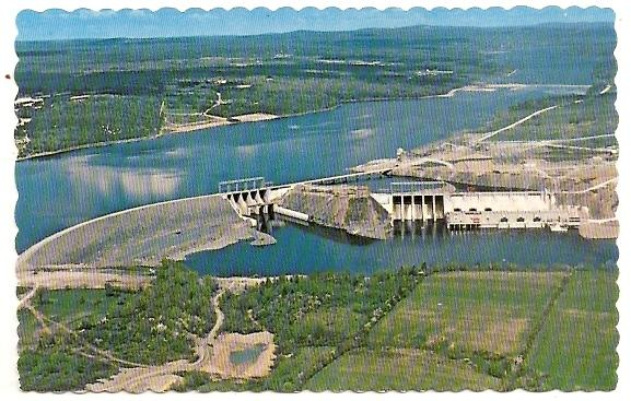 NB New Brunswick ~ Aerial View - Mactaquac Hydro Development on Saint John River, FREDERICTON