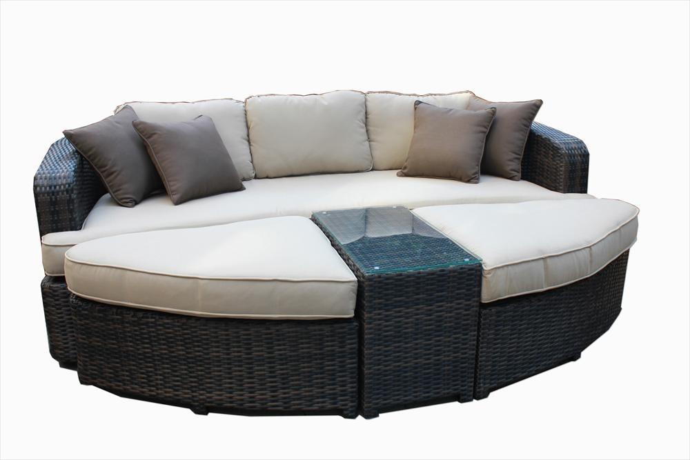 No Reserve Kontiki Wicker Rattan Round Daybed Set Outdoor Garden Patio Ebay