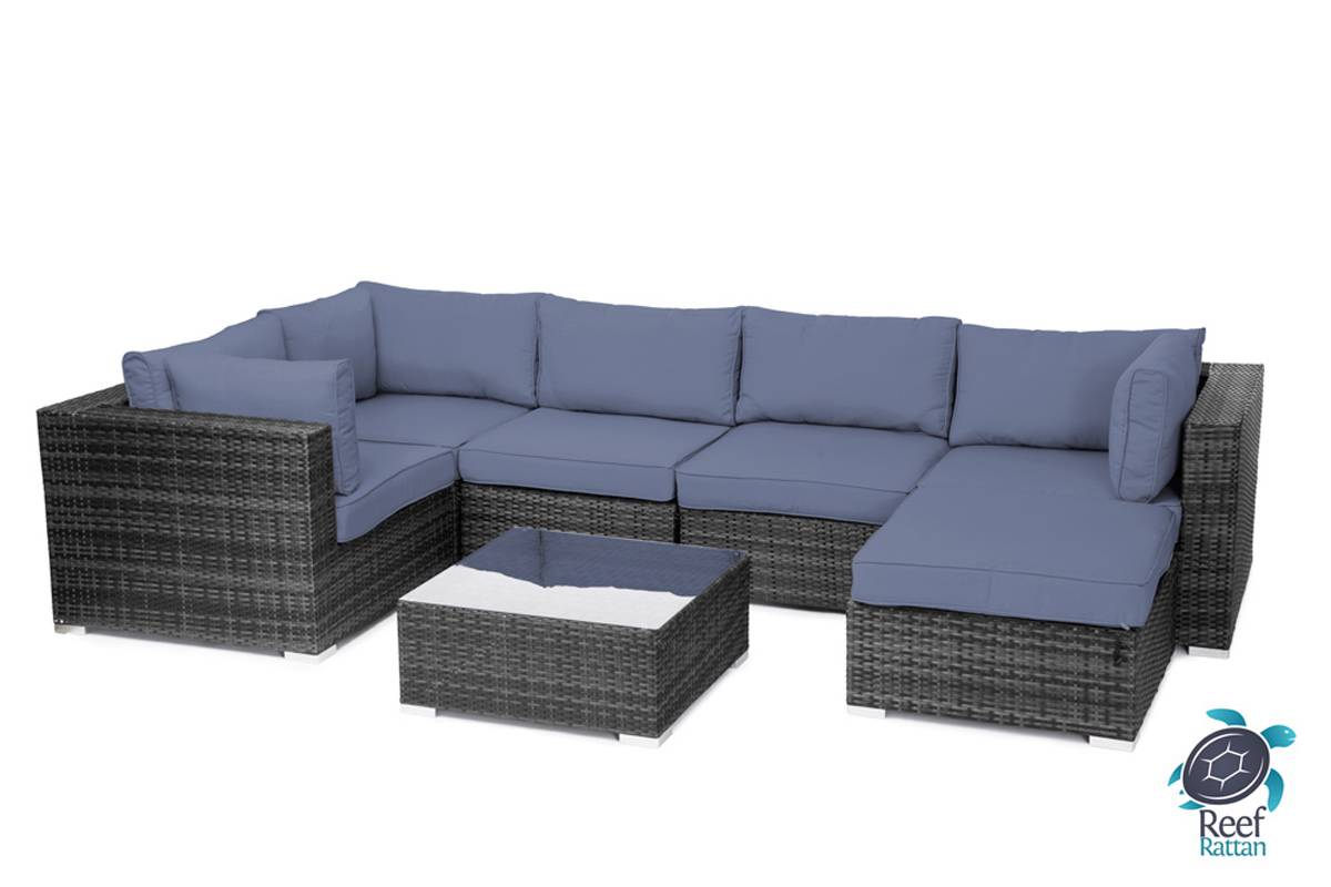 outdoor garden furniture 7pc sectional sofa grey rattan sunbrella fabric choices ebay. Black Bedroom Furniture Sets. Home Design Ideas
