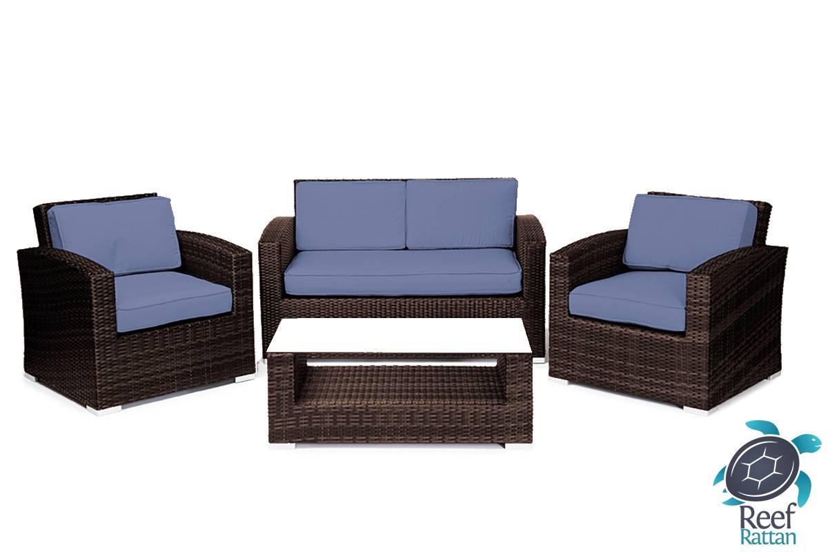 Patio furniture wicker conversation sofa set brown rattan for Sunbrella patio furniture