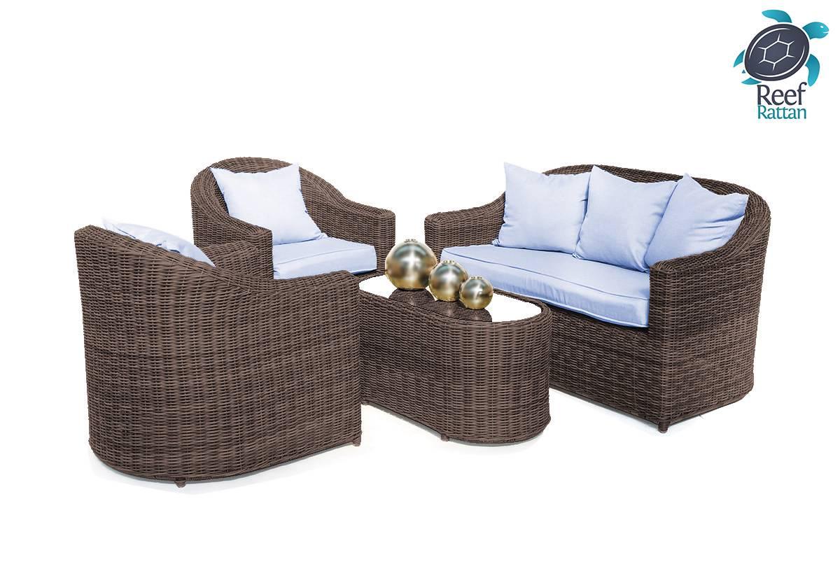 Outdoor Patio Rattan Furniture Conversation Set Brown W Sunbrella Fabrics Incl