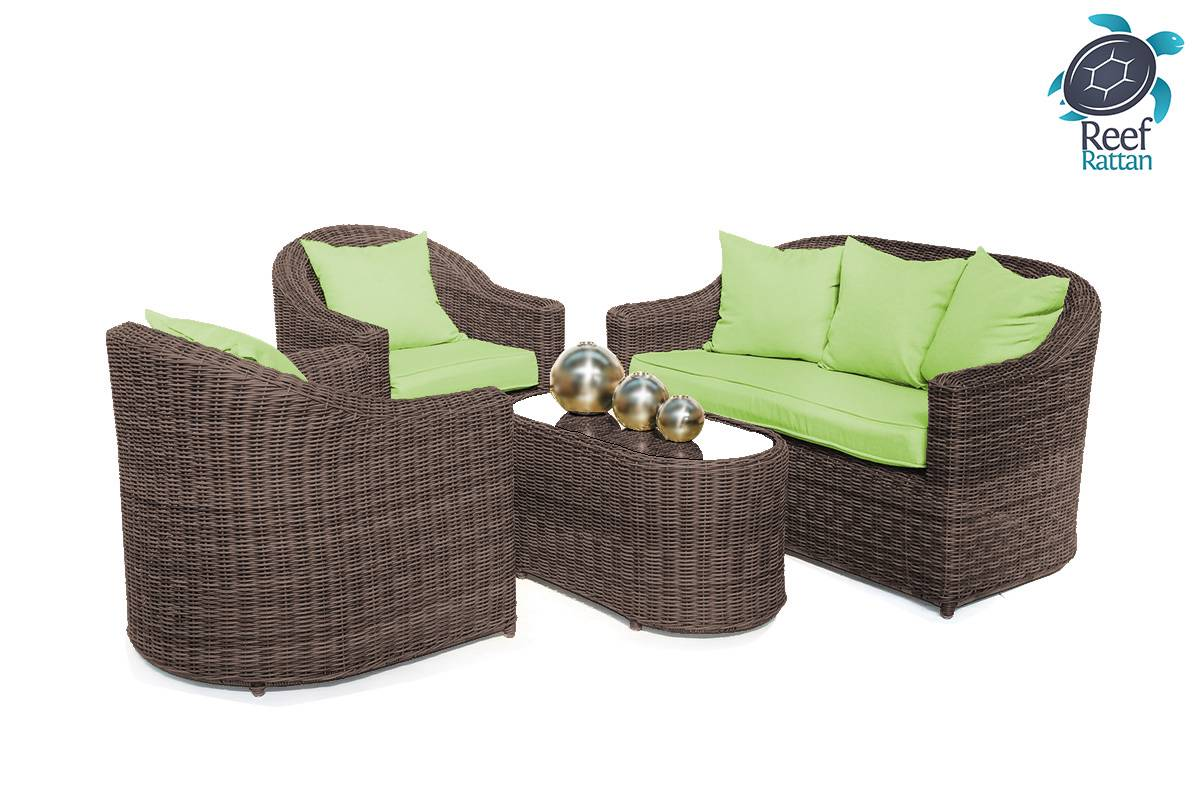 outdoor patio rattan furniture conversation set brown w