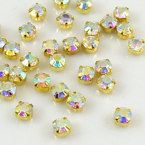 100x GRADE A Sew On Cut Glass Crystals Rhinestones Diamantes - Craft - Free P&P